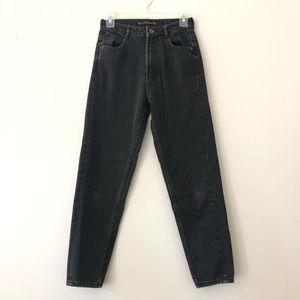 Zara Mom Jeans High waist tapered black distressed